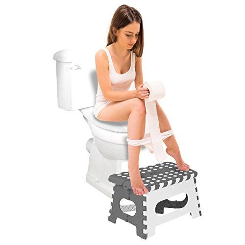 Toilettenhocker Medizinisch für leichtere Darmentleerung Toilettenstuhl gegen Reizdarm Toilettenhilfe (Weiss)