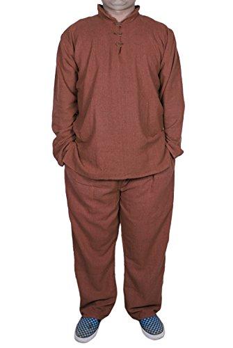 uomini pigiama set con t-shirt e pantaloni pigiama da notte set marrone-size s