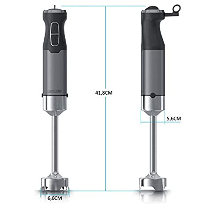 Arendo-Stabmixer-1000-Watt-Edelstahl-vierflgeliges-Messer-Prierstab-stufenlose-Geschwindigkeitsregelung-Turbotaste-abnehmbarer-Mixfu-GS-zertifiziert-Cool-Grey-Design