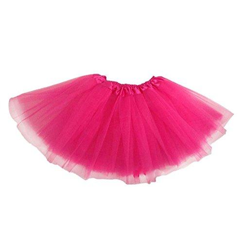 Mädchen Röcke Mini Rock Kurz Tutu Rock Tüll Ballett Tanz Röcke Elastische Prinzessin Kleid Rose Red Yuxin