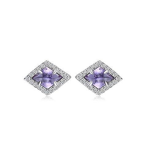 JewelryPalace Fancy 2.5ct Erstellt Alexandrit Sapphire Ohrstecker 925 Sterling Silber
