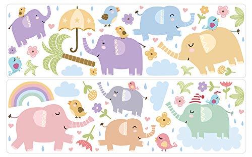 dekodino® Pegatina de pared elefantes pastel abigarrado juego grande