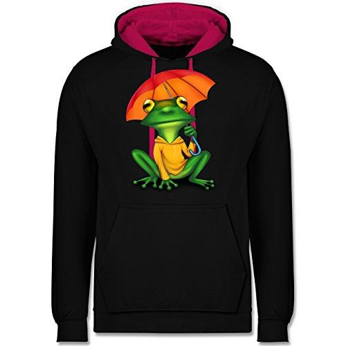 Sonstige Tiere - Wetterfrosch - Kontrast Hoodie Schwarz/Fuchsia