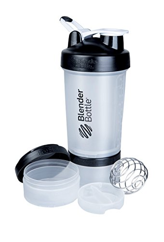 BlenderBottle Prostak Protein Shaker / Diät Shaker (650ml, skaliert bis 450ml, mit 2 Container 150ml & 100ml, 1 Pillenfach) Schwarz/transparent