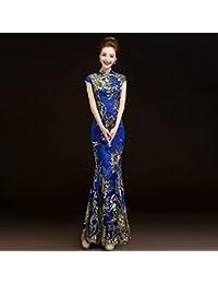 GUYIVVU Vestido De Noche De Sirena De Encaje Rojo Bordado Phoenix Novia Boda Qipao Largo Cheongsam Chino Tradicional Qi Pao, Azul, L