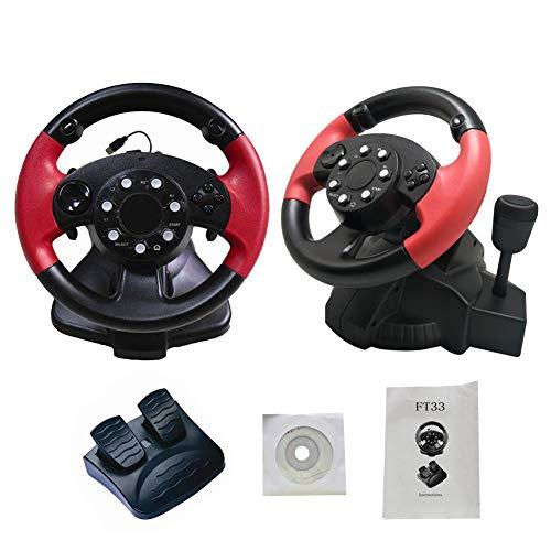liuxi Racing Wheels, Computerspiel Racing Lenkrad USB Computer Vibration mit Responsive Pedalen für PS3 / PS2 / PC (D-Input/X-Input/Steam)