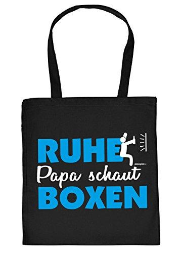Vater Geschenk Tasche - Papa Sprüche Boxer Tasche : Ruhe Papa schaut Boxen -- Geschenktasche Vater + Urkunde Farbe: Schwarz