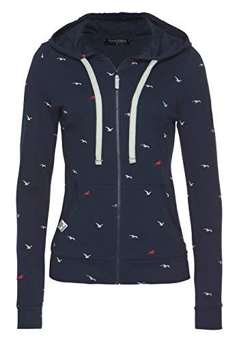 Zip-sweatshirt Jacke (TrendiMax Damen Sweatshirt Zip Jacke mit Kapuze Sweatjacke Kapuzenjacke Allover Druck, Blau, M)