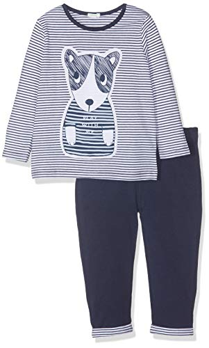 United Colors of Benetton Set Sweater+Trousers, Jersey para Bebés, (Righe Bianco/BLU 73c),...