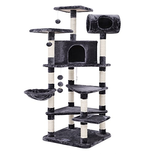 SONGMICS XXL Kratzbaum Kletterbaum mit Mehreren Ebenen für Katzen, Höhe 165 cm rauchGrau PCT17G