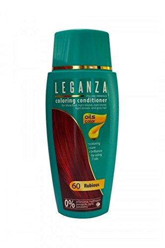 Leganza Baume Colorant Naturel pour Cheveux Couleur 60 Rouge Rubi avec 7 Huiles Sans Ammoniaque et Paraben