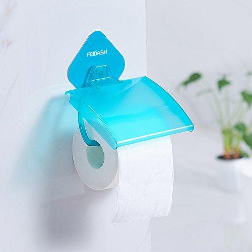 Kieyy semplice rotolo di carta igienica bagno portarotolo portapenne impermeabile a muro rotella a muro rotoli vassoio, blu