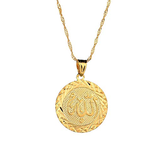 XIAOSO Neue Punk 18Kgp Goldkette Geometrische Runde Allah Halsketten Anhänger Für Frauen Herren Lange Halskette Arab Muslim Islam Schmuck