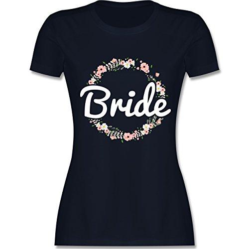 Shirtracer JGA Junggesellinnenabschied - Bride Blumenkranz - Damen T-Shirt Rundhals Navy Blau