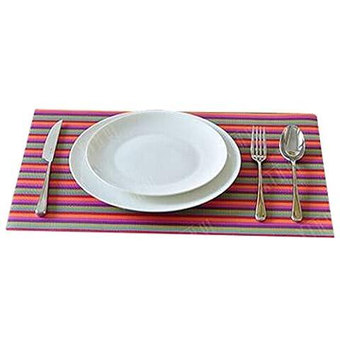 4 PCS Décorations de table/Mat Skid Résistance/Knitting Lieu-mat Couleur Stripe