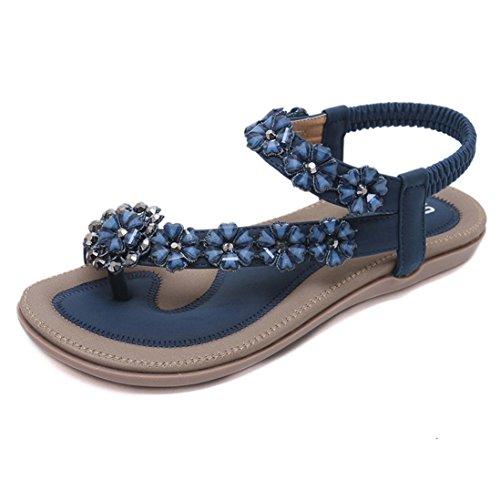 Smrbeauty banquet scarpe con tacco piatto sandali, estivi infradito con sandali, nuovo estate donne sandali piatto casuale spiaggia scarpe fiore rhinestone sandali (eu:34=cn:35, blu)