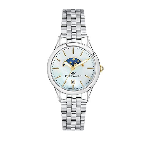 PHILIP WATCH Womens Moon Phase Quartz Watch with Stainless Steel Strap R8253596506