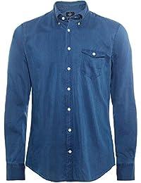 Hackett Hombres Camisa Slim Fit Mezcla Seda Azul Oscuro