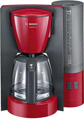 Bosch TKA6A044 Kaffeemaschine ComfortLine, Aromaschutz-Glaskanne, automatisch Endabschaltung wählbar in 20/40/60 minuten, 1200 W, rot/anthrazit