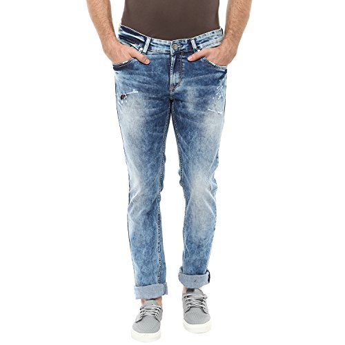 Spykar Mens Blue Skinny Fit Low Rise Jeans (actif)