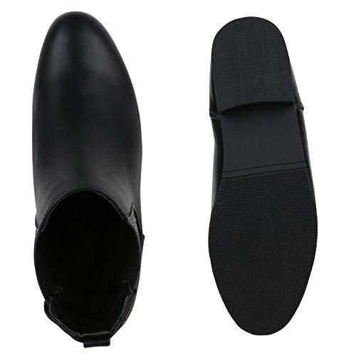 Stiefelparadies Damen Chelsea Boots Klassische Stiefeletten Glitzer Leder-Optik Schuhe Profilsohle Booties Knöchelhohe Stiefel Übergrößen Flandell Schwarz Silber Avion