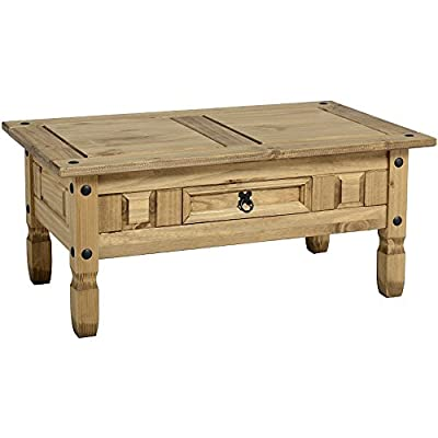 Vida Designs Corona Solid Pine Waxed Finish Furniture 1-Drawer Coffee Table, Wood