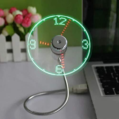 Animatey USB Ventilator LED Zeitanzeige Uhrzeit Uhr Flexible Halterung