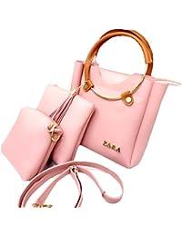 Zara Set Of 3 Handbag Comb For Women And Girls/Sling Bag/Shoulder Bag, (Pink, Black) Multipurpose And Useful Handbags...