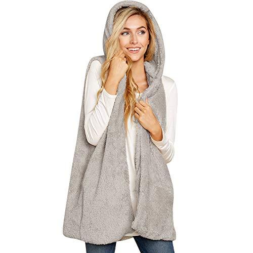 Damen Mantel Herbst äRmellos PlüSchjacke MYMYG Revers Faux Wollmantel Cardigan Locker Outwear Winterjacke Mit Taschen(GrauEU:34/CN-S)
