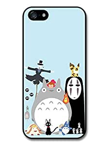 Miyazaki Animation Characters with Totoro No Face Calcifer Fire Illustration coque pour iPhone 5 5S