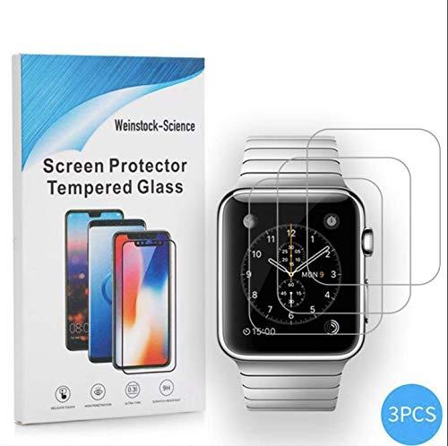 Weinstock-Science | 3X bruchsicheres Schutzglas für Apple Watch 42mm | Schutzfolie aus 9H Echt Glas Transparent