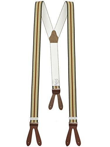 Xeira  Hochwertige Hosenträger mit Lederriemen - Verfügbar in vielen Gestreiften/Punkte Design - Made in Germany (Braun Gestreift)