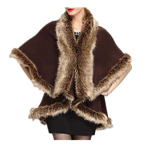 Fanessy Manteau Femme Cape d'hiver Automne Chaud Noir Kaki Fourrure Châle Poncho Mode élégant Chauve-Souris Coat Longue Veste Parka Trenche