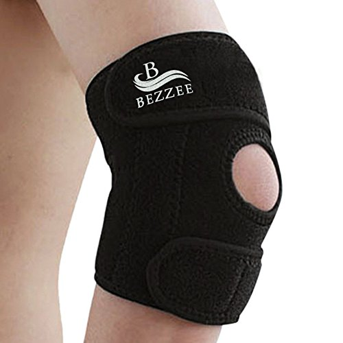 tennis-golfers-elbow-support-brace-by-bezzee-adjustable-neoprene-forearm-band-one-size-black