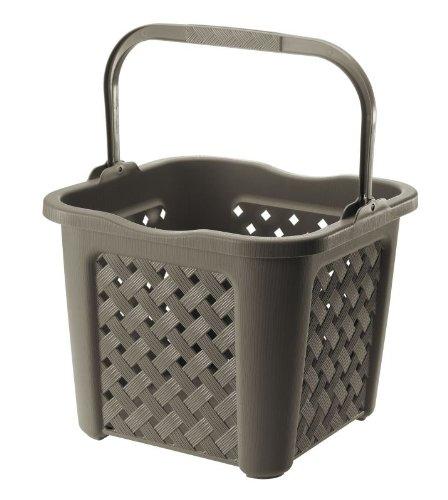 Tontarelli Wäschekorb Arianna mit Griff LT 25Wenge waschbar unter Wasser reciclabile Kunststoff rechteckig braun