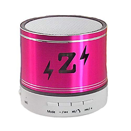 FLABEY Tragbarer Bluetooth-Lautsprecher, Mini Tragbarer LED-Funk-Stereo-Sound-Lautsprecher mit integriertem Mikrofon und SD/TF-Kartensteckplatz für iPhone Samsung iPad Tablet-Computer,Rosered