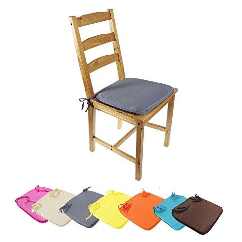 4 teiliges Sitzkissen Set Polsterauflagen mit Bindeband Stuhlkissen Polsterkissen