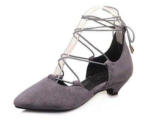 Cinturino Donne Pumps pelle scamosciata sandali aguzzi laterali vuote Scarpe cinghie Corte Grey