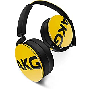 AKG Y50 Portable Foldable On-Ear Headphones Earphones with Detachable Cable and In-line Volume Remote/Microphone - Yellow