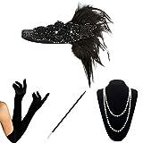 KQueenStar 1920er Jahre Zubehör Set Flapper Kostüm Accessoires für Damen 20s Gatsby Jahre Stirnband Kopfschmuck Perlen Halskette Handschuhe Zigarettenspitze (Black6) (Black6)
