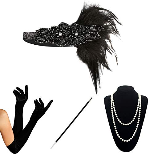 (KQueenStar 1920er Jahre Zubehör Set Flapper Kostüm Accessoires für Damen 20s Gatsby Jahre Stirnband Kopfschmuck Perlen Halskette Handschuhe Zigarettenspitze (Black6) (Black6))