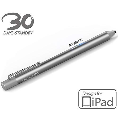 LACORAMO Stylus Pen für iPad-Serie (Upgrade-Version), 40 Stunden Wiedergabe & 30 Tage Standby, Wiederaufladbarer Abschaltautomatik mit Fine Tip-Touchscreen-Stift, Passed CE & FCC (Silber)