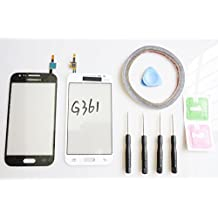 jrlinco para Samsung Galaxy Core Prime G361G361F pantalla de cristal, parte de repuesto Pantalla Táctil  Sin LCD  para blanco + herramientas & bi-adesivo + ensamblados Limpieza con Alcohol y secado
