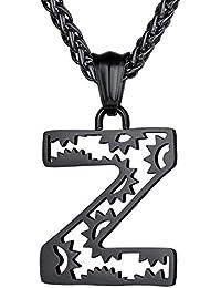 Richsteel Collares Iniciales A - Z Colgante Letra Cadena Hombre Mujer, Color Platino - Negro - Dorado, Gratis Caja de Regalo