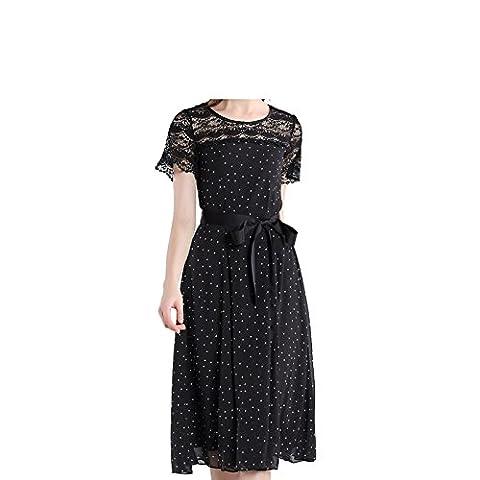 Sypdress 2017 l'été de neuf grandes tailles de vêtements pour femmes de couture dentelle Point d'onde longue robe robe tempérament impression,xl