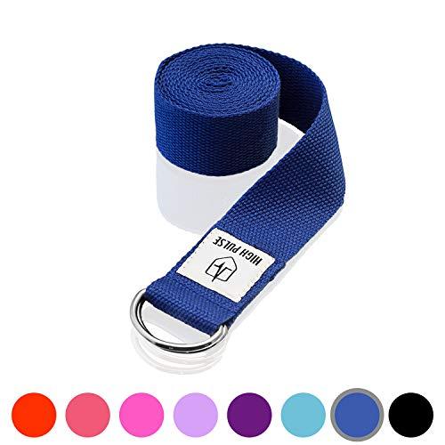 High Pulse® Yogagurt (183 x 3,8 cm) - Hochwertiger Yoga Gurt mit Verschluss als praktisches Hilfsmittel beim Yoga oder Pilates - 100{f1862be49483d64d3aa883c5fef9cf70719eacd6c0213bc6753551d7d3e183fc} Baumwolle (dunkelblau)