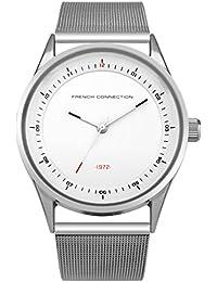 French Connection SFC110S - Reloj de cuarzo para hombres con esfera blanca y correa plateada de acero inoxidable