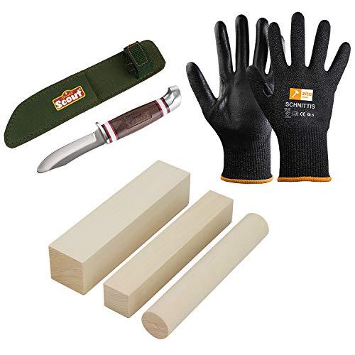 Zite Tools Schnitzmesser Set - Scout Messer Abgerundet + 3 Stück Schnitz-Holz Linde + Schnittschutzhandschuhe Gr. 5