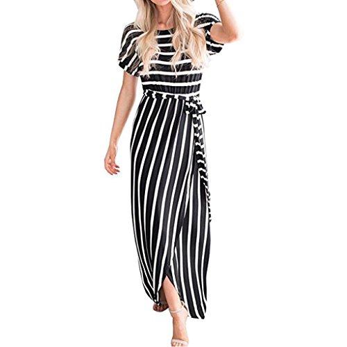 Amphia Damen Ärmelloses Langes Streifen Stretch Strandkleid Sommer Baumwolle Weiches Kleid (Schwarz, L) (Retro Streifen T-shirt Weiches)