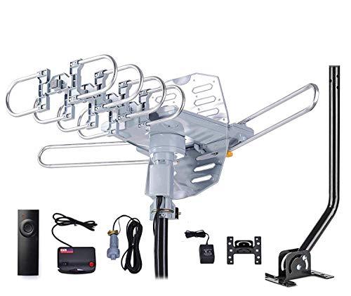 HDTV-Antenne, verstärkt, Digitale Außenantenne mit Montagestange und RG6-Koaxialkabel, 360° drehbar, kabellose Fernbedienung, Snap-On-Installation, 2 TVs Funktion -